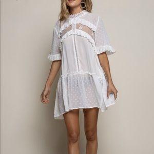 Sheer White High Neck Ruffle Dress